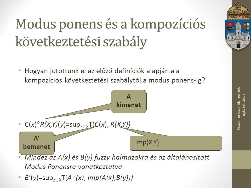 Fuzzy rendszerek mérnöki megközelítésben III Modus ponens és a kompozíciós következtetési szabály Hogyan jutottunk el az előző definíciók alapján a a kompozíciós következtetési szabálytól a modus ponens-ig.