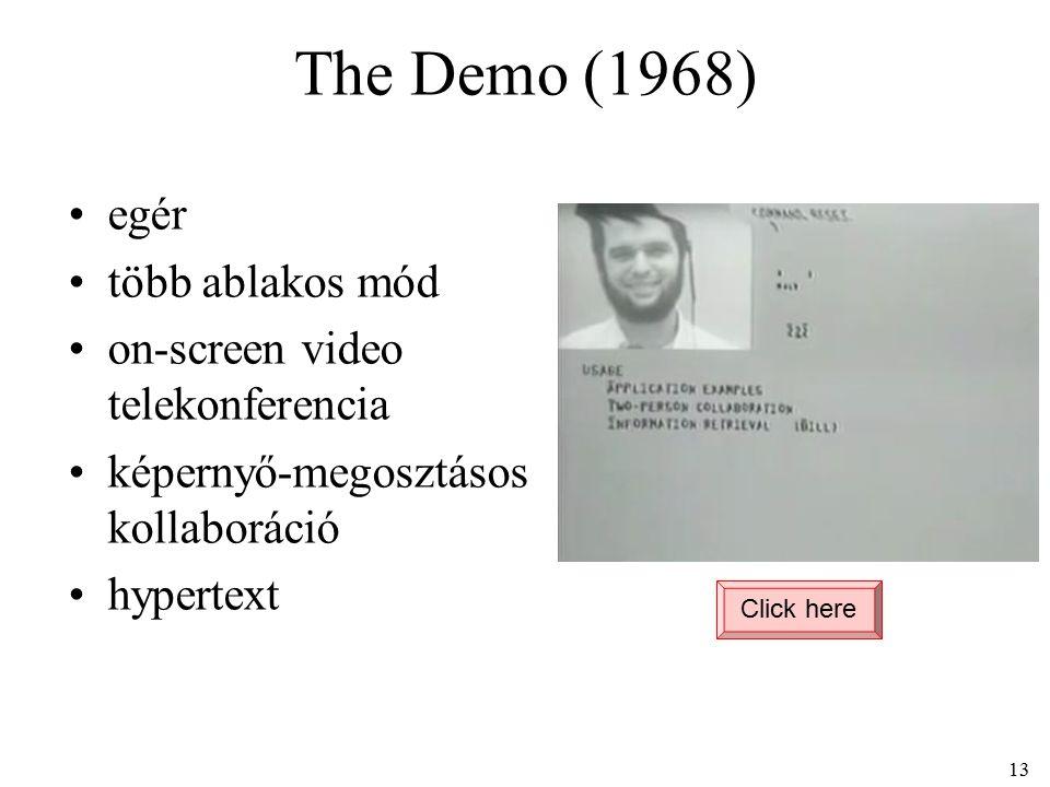 The Demo (1968) Click here 13 egér több ablakos mód on-screen video telekonferencia képernyő-megosztásos kollaboráció hypertext