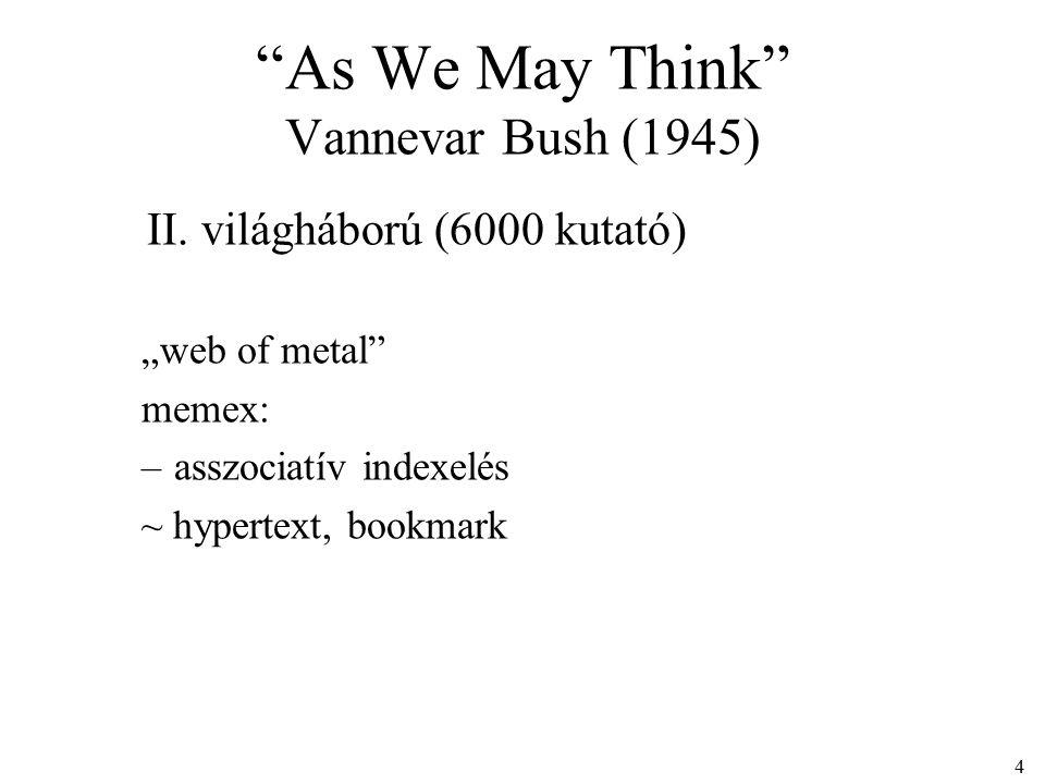 """4 II. világháború (6000 kutató) """"web of metal memex: –asszociatív indexelés ~ hypertext, bookmark"""