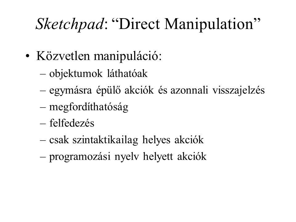 Sketchpad: Direct Manipulation Közvetlen manipuláció: –objektumok láthatóak –egymásra épülő akciók és azonnali visszajelzés –megfordíthatóság –felfedezés –csak szintaktikailag helyes akciók –programozási nyelv helyett akciók