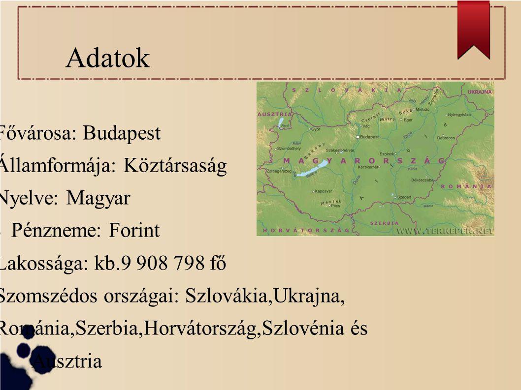 Adatok Fővárosa: Budapest Államformája: Köztársaság Nyelve: Magyar Pénzneme: Forint Lakossága: kb.9 908 798 fő Szomszédos országai: Szlovákia,Ukrajna,