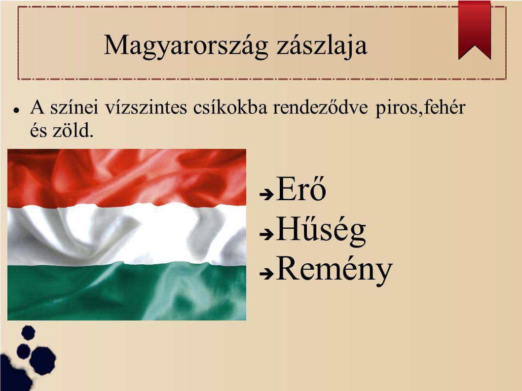 Magyarország zászlaja A színei vízszintes csíkokba rendeződve piros,fehér és zöld.  Erő  Hűség  Remény