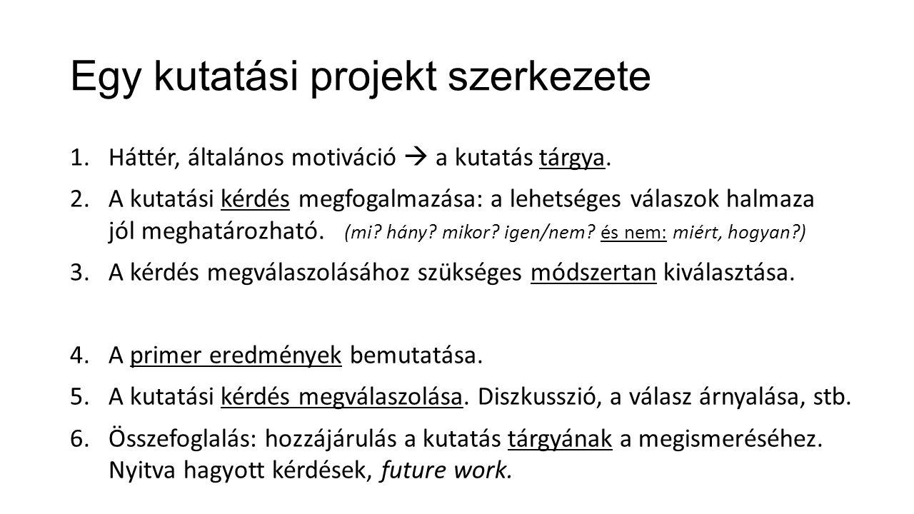 Egy kutatási projekt szerkezete 1.Háttér, általános motiváció  a kutatás tárgya. 2.A kutatási kérdés megfogalmazása: a lehetséges válaszok halmaza jó