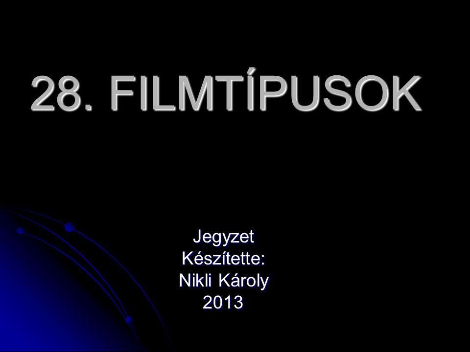 28. FILMTÍPUSOK JegyzetKészítette: Nikli Károly 2013