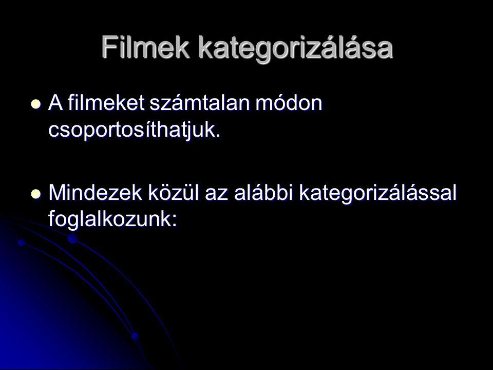 Filmek kategorizálása A filmeket számtalan módon csoportosíthatjuk. A filmeket számtalan módon csoportosíthatjuk. Mindezek közül az alábbi kategorizál