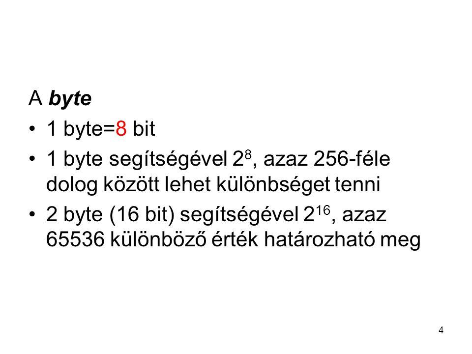 4 A byte 1 byte=8 bit 1 byte segítségével 2 8, azaz 256-féle dolog között lehet különbséget tenni 2 byte (16 bit) segítségével 2 16, azaz 65536 különb