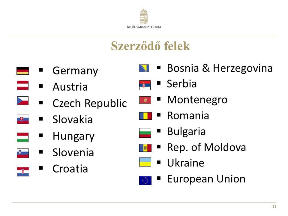 11 Szerződő felek  Germany  Austria  Czech Republic  Slovakia  Hungary  Slovenia  Croatia  Bosnia & Herzegovina  Serbia  Montenegro  Romani