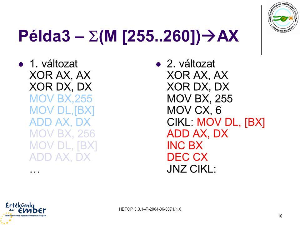 HEFOP 3.3.1–P-2004-06-0071/1.0 16 Példa3 –  (M [255..260])  AX 1. változat XOR AX, AX XOR DX, DX MOV BX,255 MOV DL,[BX] ADD AX, DX MOV BX, 256 MOV D