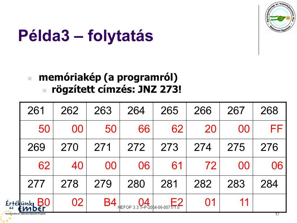 HEFOP 3.3.1–P-2004-06-0071/1.0 17 Példa3 – folytatás 261262263264265266267268 50005066622000FF 269270271272273274275276 6240000661720006 277278279280281282283284 B002B404E20111 memóriakép (a programról) rögzített címzés: JNZ 273!