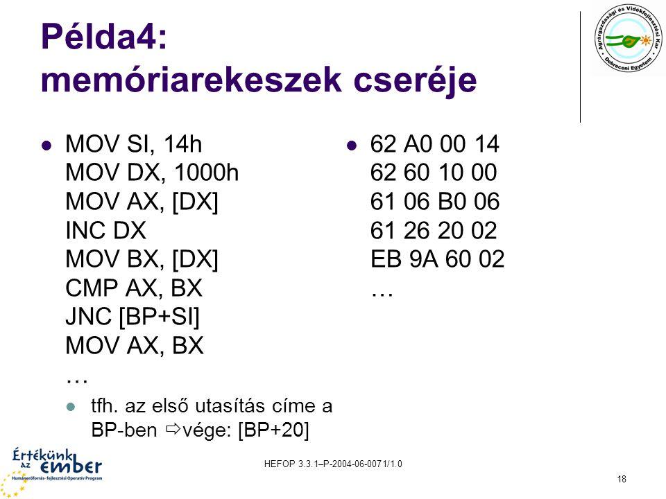 HEFOP 3.3.1–P-2004-06-0071/1.0 18 Példa4: memóriarekeszek cseréje MOV SI, 14h MOV DX, 1000h MOV AX, [DX] INC DX MOV BX, [DX] CMP AX, BX JNC [BP+SI] MOV AX, BX … tfh.