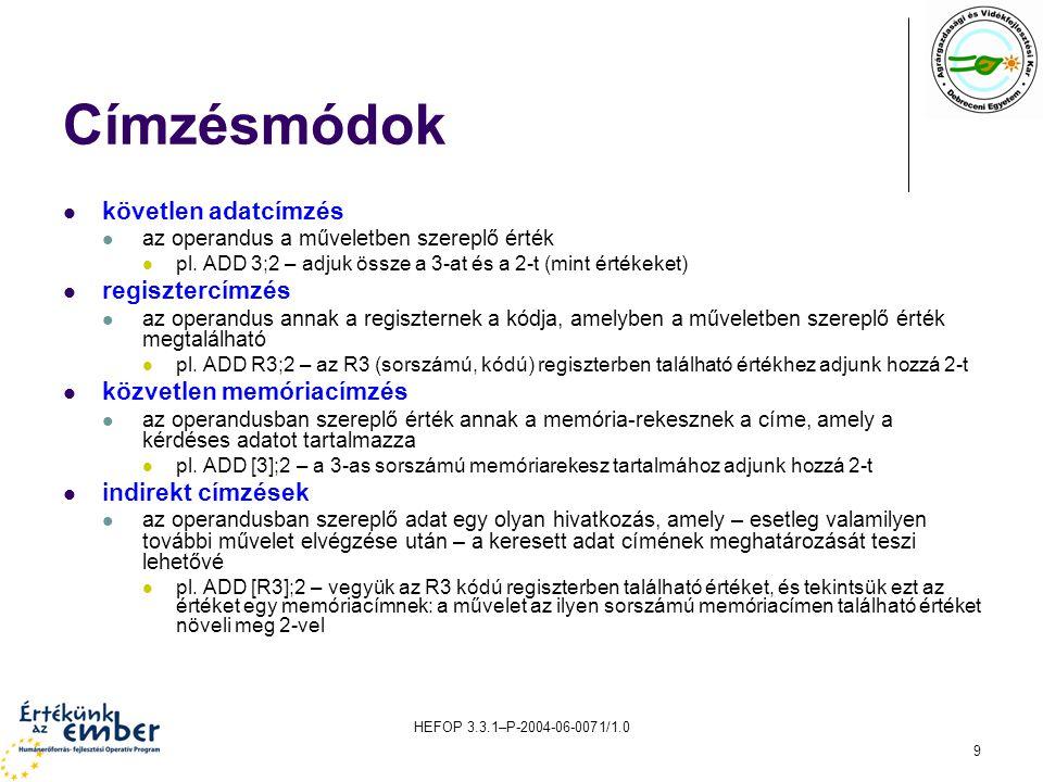 HEFOP 3.3.1–P-2004-06-0071/1.0 9 Címzésmódok követlen adatcímzés az operandus a műveletben szereplő érték pl.