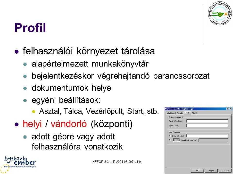 HEFOP 3.3.1–P-2004-06-0071/1.010 Profil felhasználói környezet tárolása alapértelmezett munkakönyvtár bejelentkezéskor végrehajtandó parancssorozat dokumentumok helye egyéni beállítások: Asztal, Tálca, Vezérlőpult, Start, stb.