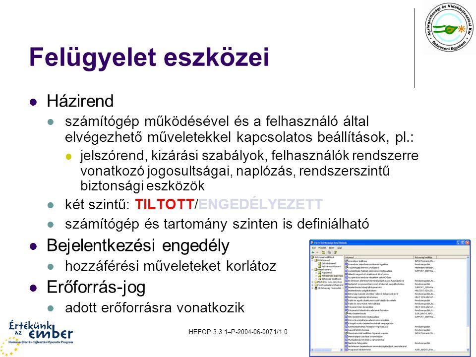 HEFOP 3.3.1–P-2004-06-0071/1.011 Felügyelet eszközei Házirend számítógép működésével és a felhasználó által elvégezhető műveletekkel kapcsolatos beállítások, pl.: jelszórend, kizárási szabályok, felhasználók rendszerre vonatkozó jogosultságai, naplózás, rendszerszintű biztonsági eszközök két szintű: TILTOTT/ENGEDÉLYEZETT számítógép és tartomány szinten is definiálható Bejelentkezési engedély hozzáférési műveleteket korlátoz Erőforrás-jog adott erőforrásra vonatkozik