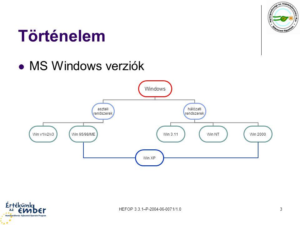 HEFOP 3.3.1–P-2004-06-0071/1.04 Változatok Windows 3.11 munkacsoport Windows NT4 tartomány Windows 2000/2003 szerverváltozatok, pl.
