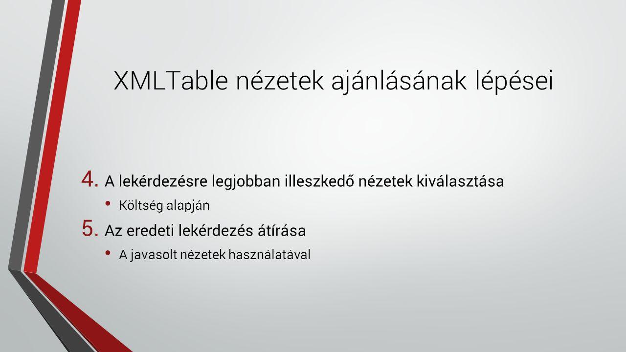 XMLTable nézetek ajánlásának lépései 4. A lekérdezésre legjobban illeszkedő nézetek kiválasztása Költség alapján 5. Az eredeti lekérdezés átírása A ja