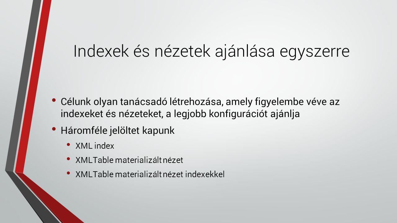Indexek és nézetek ajánlása egyszerre Célunk olyan tanácsadó létrehozása, amely figyelembe véve az indexeket és nézeteket, a legjobb konfigurációt ajánlja Háromféle jelöltet kapunk XML index XMLTable materializált nézet XMLTable materializált nézet indexekkel
