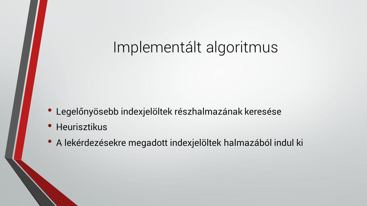 Implementált algoritmus Legelőnyösebb indexjelöltek részhalmazának keresése Heurisztikus A lekérdezésekre megadott indexjelöltek halmazából indul ki