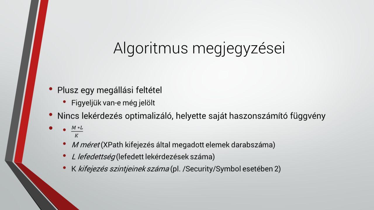 Algoritmus megjegyzései