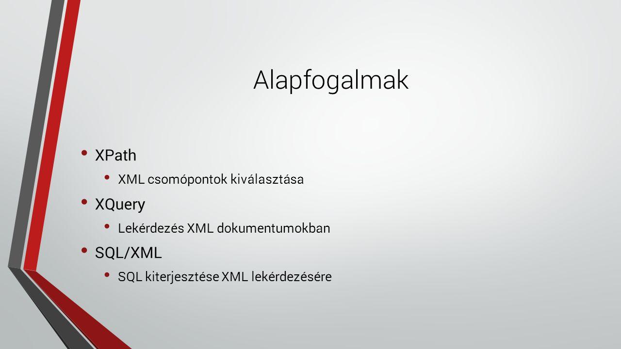 Alapfogalmak XPath XML csomópontok kiválasztása XQuery Lekérdezés XML dokumentumokban SQL/XML SQL kiterjesztése XML lekérdezésére
