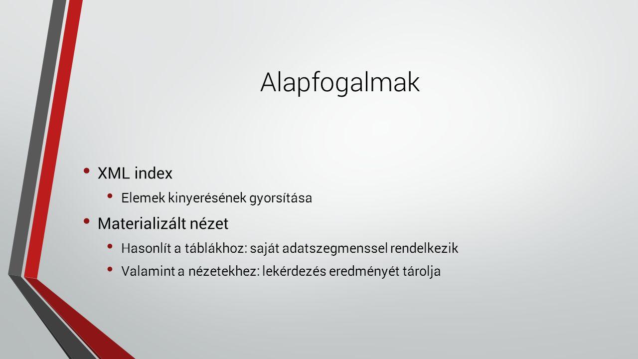 Alapfogalmak XML index Elemek kinyerésének gyorsítása Materializált nézet Hasonlít a táblákhoz: saját adatszegmenssel rendelkezik Valamint a nézetekhez: lekérdezés eredményét tárolja