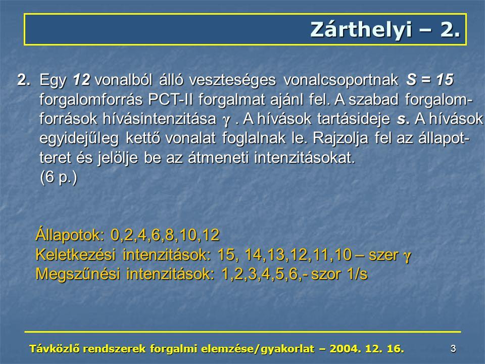 Távközlő rendszerek forgalmi elemzése/gyakorlat – 2004. 12. 16. 3 Zárthelyi – 2. 2. Egy 12 vonalból álló veszteséges vonalcsoportnak S = 15 forgalomfo