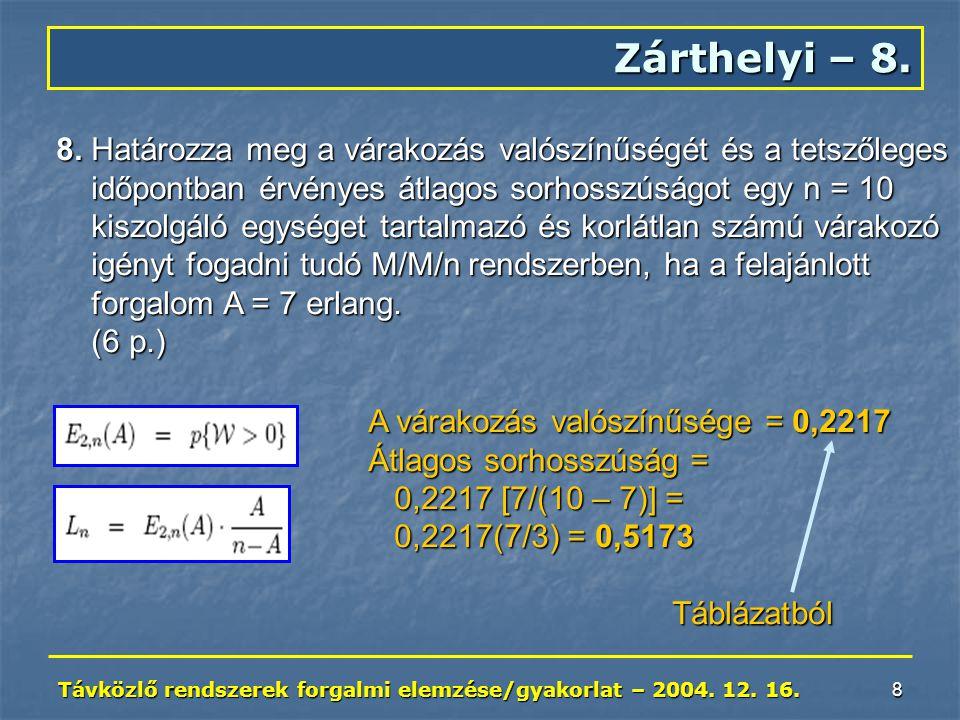 Távközlő rendszerek forgalmi elemzése/gyakorlat – 2004. 12. 16. 8 Zárthelyi – 8. 8. Határozza meg a várakozás valószínűségét és a tetszőleges időpontb