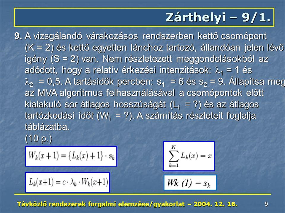 Távközlő rendszerek forgalmi elemzése/gyakorlat – 2004. 12. 16. 9 Zárthelyi – 9/1. 9. A vizsgálandó várakozásos rendszerben kettő csomópont (K = 2) és