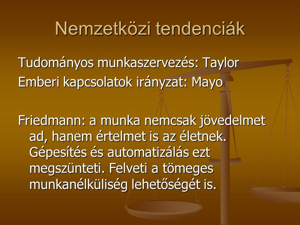 Nemzetközi tendenciák Tudományos munkaszervezés: Taylor Emberi kapcsolatok irányzat: Mayo Friedmann: a munka nemcsak jövedelmet ad, hanem értelmet is az életnek.