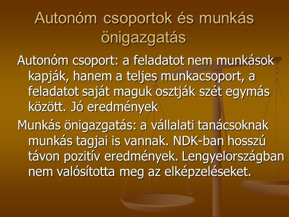 Autonóm csoportok és munkás önigazgatás Autonóm csoport: a feladatot nem munkások kapják, hanem a teljes munkacsoport, a feladatot saját maguk osztják szét egymás között.