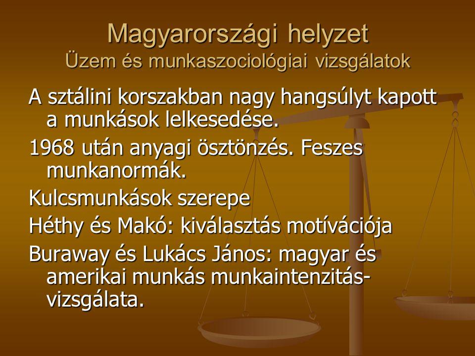 Magyarországi helyzet Üzem és munkaszociológiai vizsgálatok A sztálini korszakban nagy hangsúlyt kapott a munkások lelkesedése.