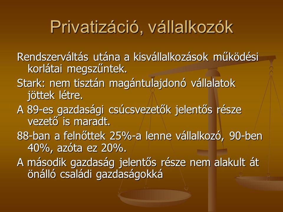 Privatizáció, vállalkozók Rendszerváltás utána a kisvállalkozások működési korlátai megszűntek.