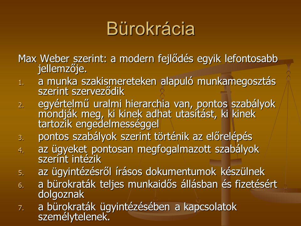 Bürokrácia Max Weber szerint: a modern fejlődés egyik lefontosabb jellemzője.