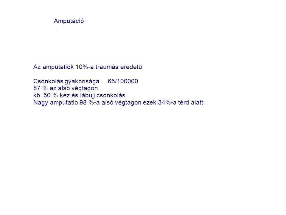 Az amputatiók 10%-a traumás eredetű Csonkolás gyakorisága 65/100000 87 % az alsó végtagon kb. 50 % kéz és lábujj csonkolás Nagy amputatio 98 %-a alsó