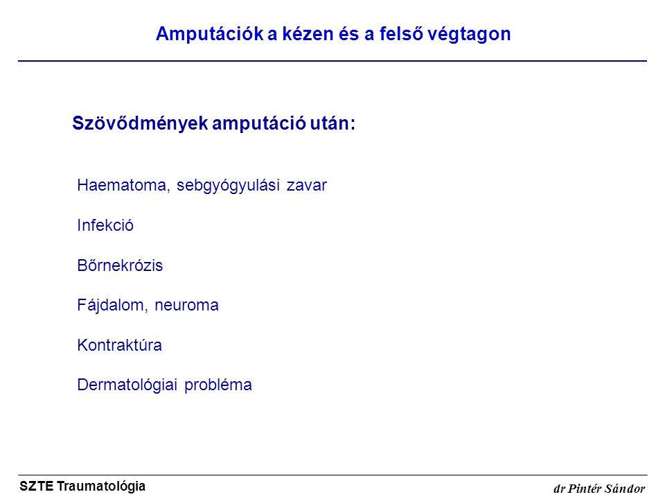 Amputációk a kézen és a felső végtagon SZTE Traumatológia dr Pintér Sándor Szövődmények amputáció után: Haematoma, sebgyógyulási zavar Infekció Bőrnek