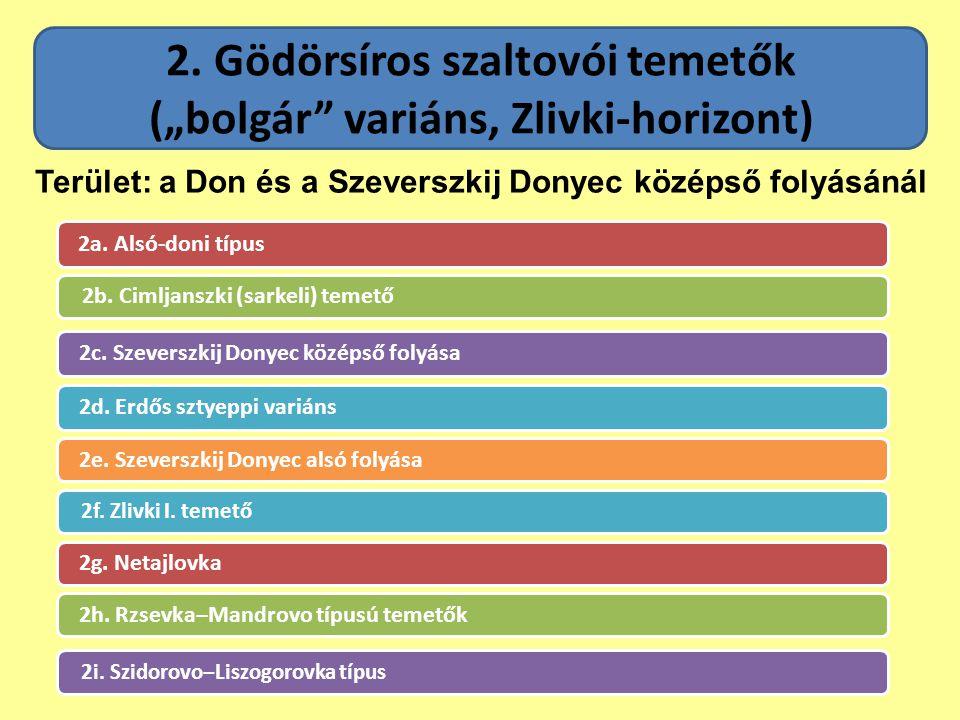 """2. Gödörsíros szaltovói temetők (""""bolgár"""" variáns, Zlivki-horizont) 2a. Alsó-doni típus 2b. Cimljanszki (sarkeli) temető 2c. Szeverszkij Donyec középs"""