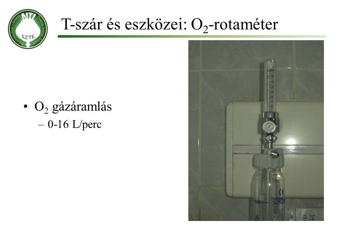 T-szár és eszközei: O 2 -rotaméter Molnár '99 O 2 gázáramlás –0-16 L/perc