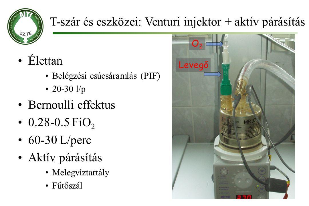 T-szár és eszközei: Venturi injektor + aktív párásítás Molnár '99 Élettan Belégzési csúcsáramlás (PIF) 20-30 l/p Bernoulli effektus 0.28-0.5 FiO 2 60-