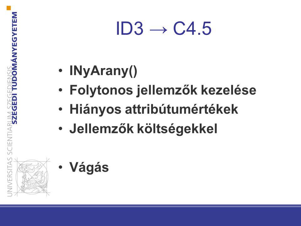 ID3 → C4.5 INyArany() Folytonos jellemzők kezelése Hiányos attribútumértékek Jellemzők költségekkel Vágás