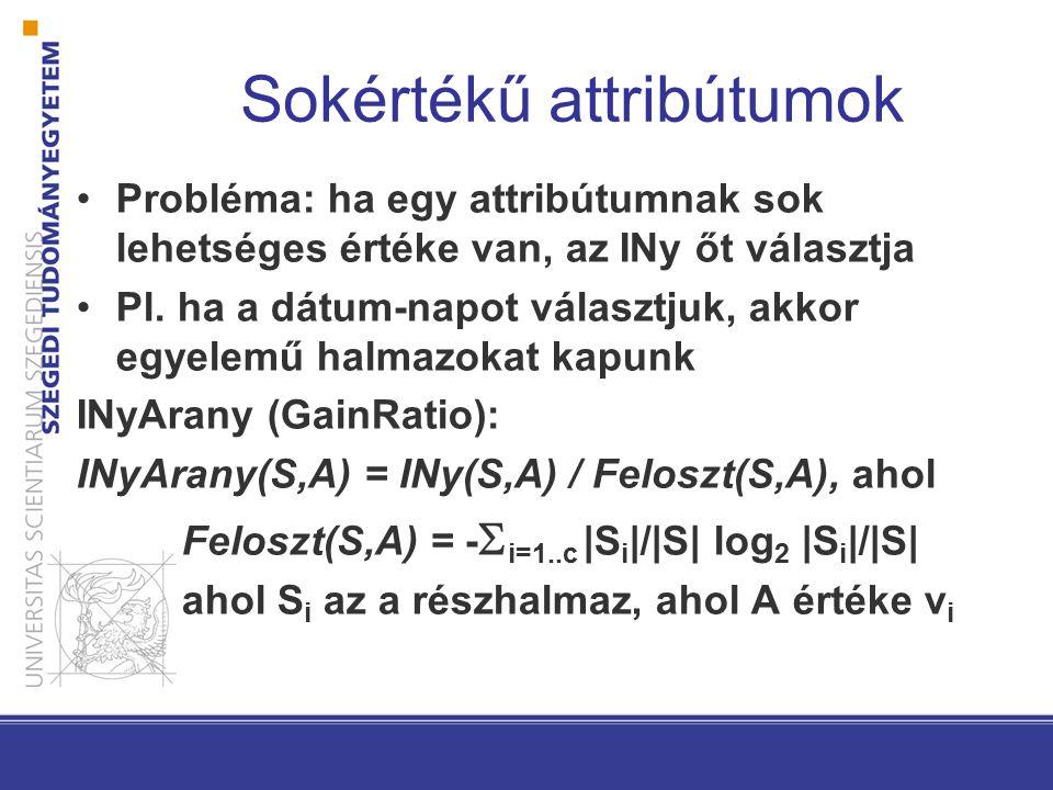 Sokértékű attribútumok Probléma: ha egy attribútumnak sok lehetséges értéke van, az INy őt választja Pl. ha a dátum-napot választjuk, akkor egyelemű h