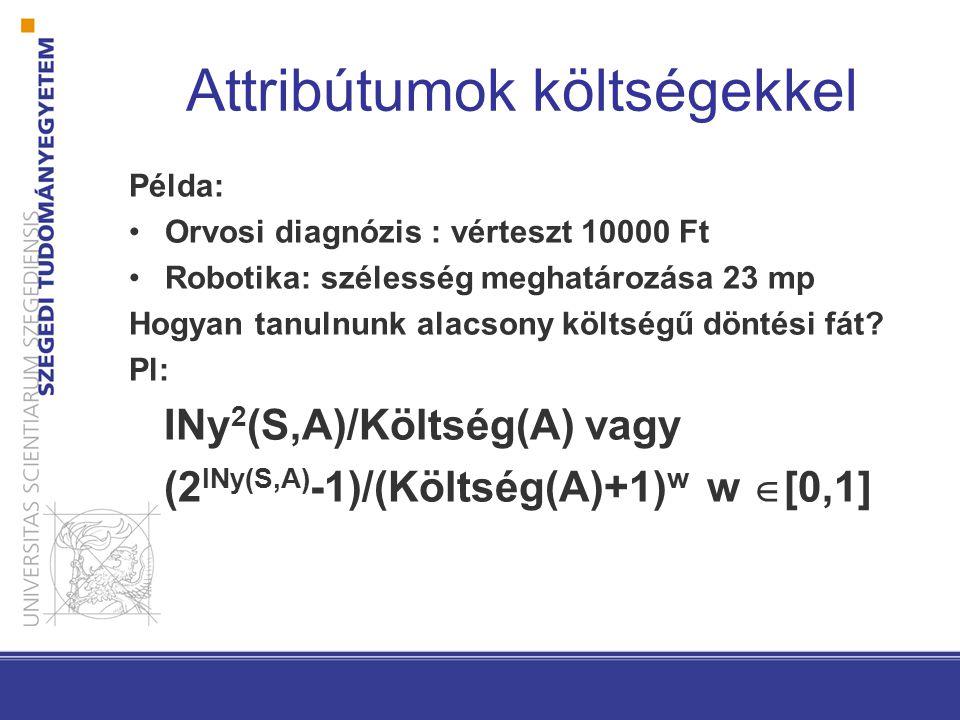 Attribútumok költségekkel Példa: Orvosi diagnózis : vérteszt 10000 Ft Robotika: szélesség meghatározása 23 mp Hogyan tanulnunk alacsony költségű dönté