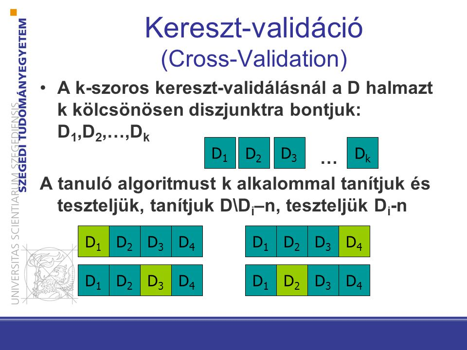 A k-szoros kereszt-validálásnál a D halmazt k kölcsönösen diszjunktra bontjuk: D 1,D 2,…,D k … A tanuló algoritmust k alkalommal tanítjuk és teszteljü
