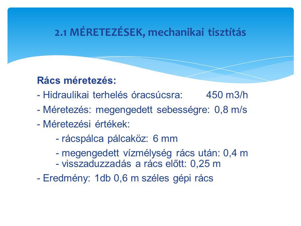 2.1 MÉRETEZÉSEK, mechanikai tisztítás Rács méretezés: - Hidraulikai terhelés óracsúcsra:450 m3/h - Méretezés: megengedett sebességre: 0,8 m/s - Mérete
