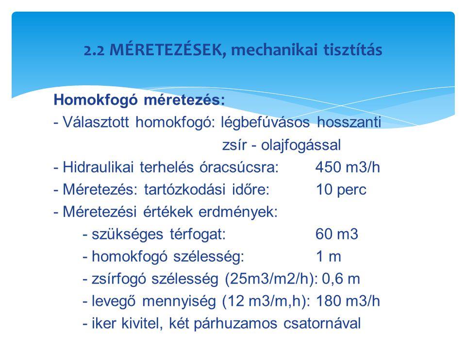 2.2 MÉRETEZÉSEK, mechanikai tisztítás Homokfogó méretezés: - Választott homokfogó: légbefúvásos hosszanti zsír - olajfogással - Hidraulikai terhelés ó