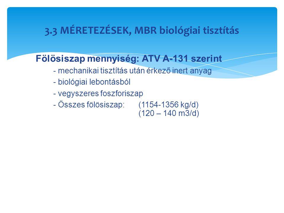 3.3 MÉRETEZÉSEK, MBR biológiai tisztítás Fölösiszap mennyiség: ATV A-131 szerint - mechanikai tisztítás után érkező inert anyag - biológiai lebontásbó