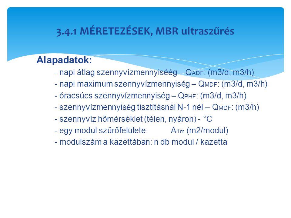 3.4.1 MÉRETEZÉSEK, MBR ultraszűrés Alapadatok: - napi átlag szennyvízmennyiséég - Q ADF : (m3/d, m3/h) - napi maximum szennyvízmennyiség – Q MDF : (m3