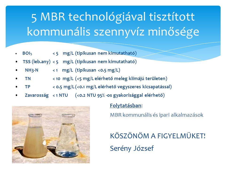 5 MBR technológiával tisztított kommunális szennyvíz minősége BOI 5 < 5 mg/L(tipikusan nem kimutatható) TSS (leb.any) < 5 mg/L(tipikusan nem kimutatha