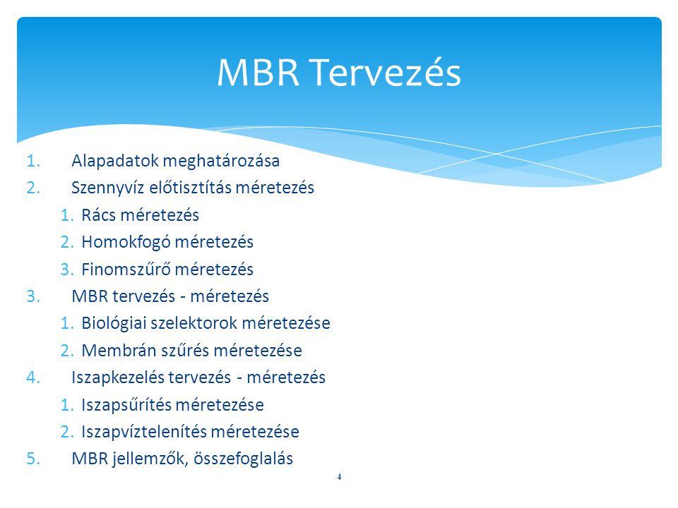 4 MBR Tervezés 1.Alapadatok meghatározása 2.Szennyvíz előtisztítás méretezés 1.Rács méretezés 2.Homokfogó méretezés 3.Finomszűrő méretezés 3.MBR terve