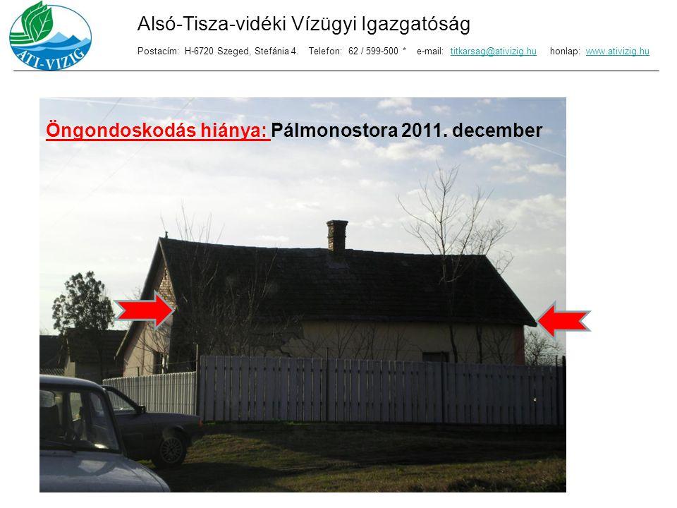 Öngondoskodás hiánya: Pálmonostora 2011. december Alsó-Tisza-vidéki Vízügyi Igazgatóság Postacím: H-6720 Szeged, Stefánia 4. Telefon: 62 / 599-500 * e