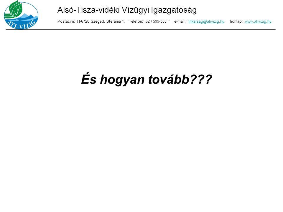 És hogyan tovább??? Alsó-Tisza-vidéki Vízügyi Igazgatóság Postacím: H-6720 Szeged, Stefánia 4. Telefon: 62 / 599-500 * e-mail: titkarsag@ativizig.hu h