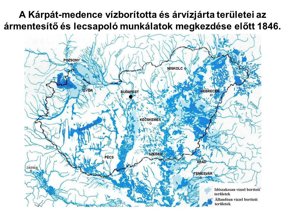 A Kárpát-medence vízborította és árvízjárta területei az ármentesítő és lecsapoló munkálatok megkezdése előtt 1846.